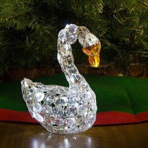"""Лебедь светящийся """"Кристальный"""", 30 см, 32 холодных белых LED ламп, IP20"""