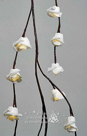 """Гирлянда - лиана """"Маленькая розочка"""", 150см, 48 LED ламп, теплые белые лампы"""