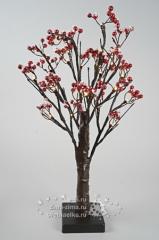"""Мини дерево заснеженное """"Волшебные ягоды"""", на батарейках, 50см, 24 LED ламп, теплый белый"""