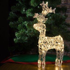 """Олень светящийся """"Ажурный"""", 60 см, уличный, прозрачные акриловые нити, 50 теплых белых LED ламп"""