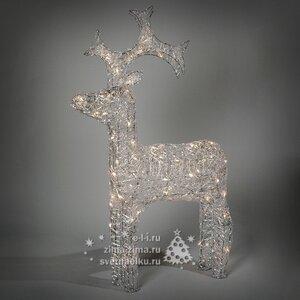 """Олень светящийся """"Ажурный"""", 90 см, уличный, прозрачные акриловые нити, 80 теплых белых LED ламп"""