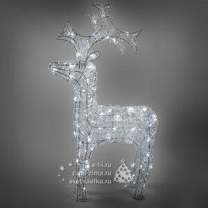 """Олень светящийся """"Ажурный"""", 60 см, уличный, прозрачные акриловые нити, 50 холодных белых LED ламп"""