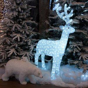 Олень светящийся, 130 см, уличный, акрил, 450 холодных белых LED ламп
