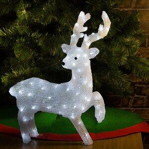 Олень светящийся, 56 см, уличный, акрил, 90 холодных белых LED ламп