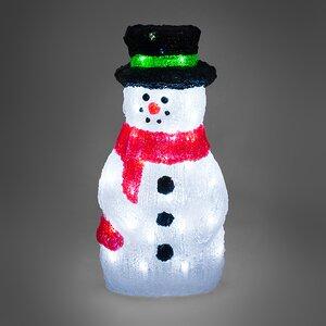 Снеговик светящийся в красном шарфе и цилиндре, 40 см, уличный, акрил, 50 холодных белых LED ламп