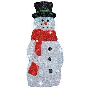 Снеговик светящийся в красном шарфе и цилиндре, 60 см, уличный, акрил, 120 холодных белых LED ламп