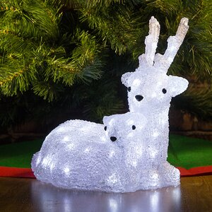"""Светодиодные олени """"Мама и Малыш"""", 34 см, уличные, акрил, 56 холодных белых LED ламп"""