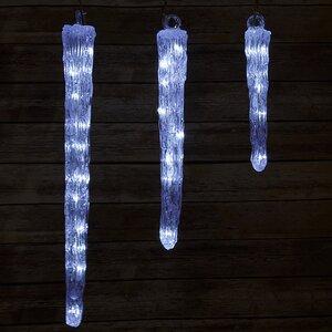 Светодиодная гирлянда Сосульки акриловые, 3 шт, 27 холодных белых LED ламп, контроллер, IP44