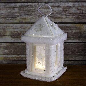 Композиция «Заснеженный старинный фонарик», 231010 см, подсветка, батарейки