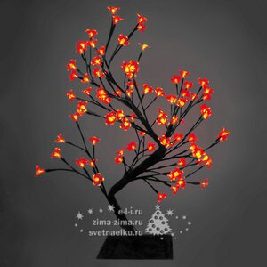 """Светодиодное мини дерево """"САКУРА БОНСАЙ"""", 45 см, 64 КРАСНЫХ  LED ламп, 24V"""