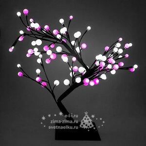 """Светодиодное мини дерево """"Бонсай ШАРИКИ"""", 60 см, 96 БЕЛО-РОЗОВЫХ LED ламп, 24V"""