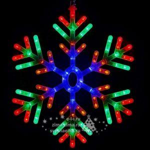 Снежинка светодиодная, 60 см, разноцветная, контроллер