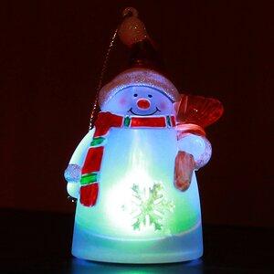 Светящаяся елочная игрушка Снеговик 10 см, на батарейке, RGB, подвеска