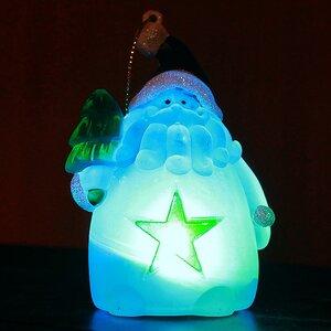 Светящаяся елочная игрушка Санта со Звездой 10 см на батарейке, RGB, подвеска
