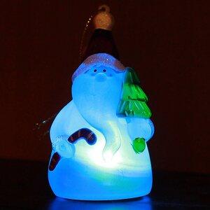 Светящаяся елочная игрушка Санта с Елочкой 10 см на батарейке, RGB, подвеска