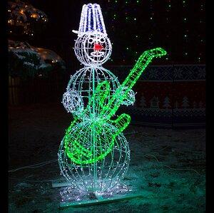 Светящийся Снеговик с гитарой уличный 210 см