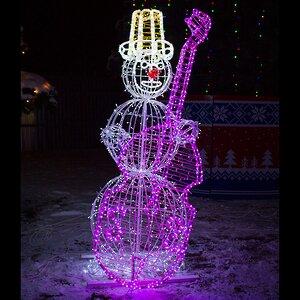 Светящийся Снеговик с контрабасом уличный 210 см