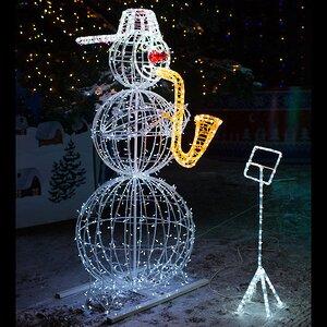 Светящийся Снеговик с саксофоном уличный 210 см