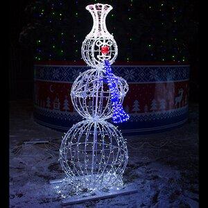 Светящийся Снеговик с трубой уличный 210 см